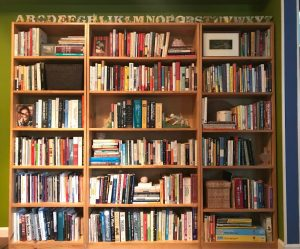 Bookshelves with books and tzchtdeclutter books