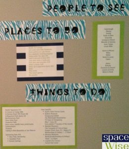 Organize your summer with a fun board with lists of people to see, places to go, and things to do