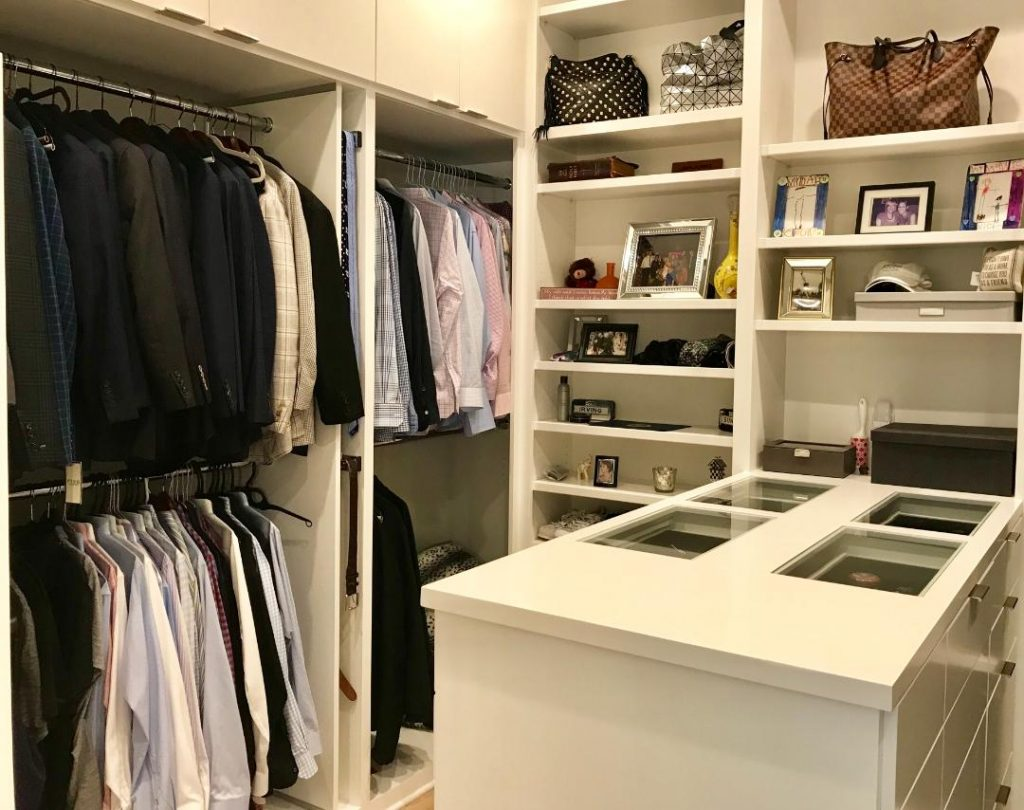 home organizing: spaceWise closet with peninsula, shelves, hanging clothes