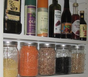 Pantry shelves with jars of food
