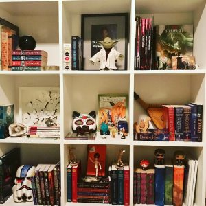 Cube bookcase with toys and books