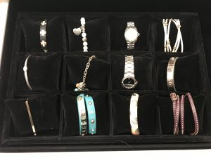 Bracelets in velvet storage tray